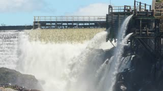 Slo Mo Big Hydro Electric Dam In Grand Falls In Newfoundland Canada