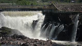 Slo Mo Of Big Hydro Electric Dam In Grand Falls In Newfoundland Canada
