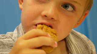 Slow Motion Of Boy Having Chicken Fingers At A Restaurant With Family