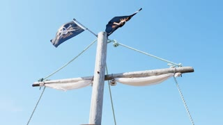 Slow Motion Of Flags In Wind On Play Pirate Ship At A Playground