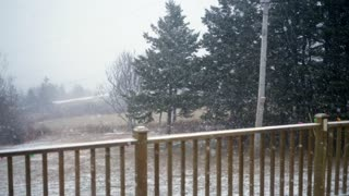 Slow motion shot of a winter storm outside the house