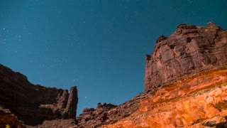 Timelapse Of Amazing Desert Canyon Stars Rotating In The Night