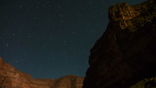 Timelapse Of An Amazing Desert Canyon Stars In The Night