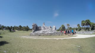 Tourists Exploring Mayan Ruins In Beautiful Tulum Mexico