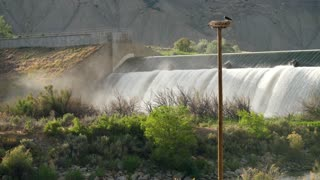 Waterfall And Dam To Divert Water In The Hot Desert