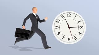 Businessman with a briefcase running late, businessperson chasing clock