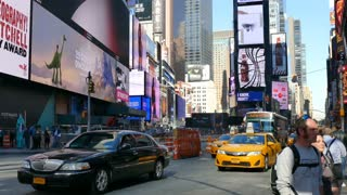 Busy street in New York City, traffic in Manhattan, NYC