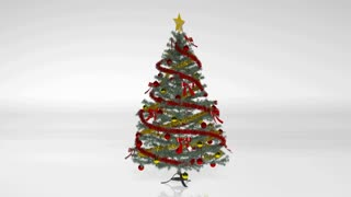 Christmas Tree With Decorations And Ornaments Isolated On White Background