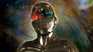 Face of armored futuristic masked warrior in space