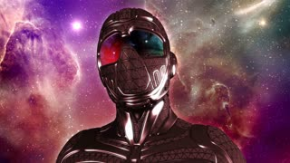 Face of armored Sci-Fi masked warrior in space