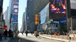 New York City street, traffic in Times Square, Manhattan, NYC