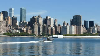 Speed Boat, Motor Boat On East River With New York City Skyline In The Background