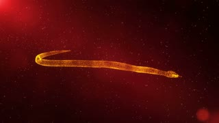 Anaconda, animated snake, abstract animal crawling through particles, fantasy 3D scene