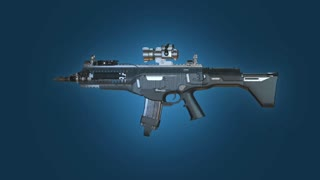Assault Rifle, Firearm, Automatic Weapon Rotating On Blue Background