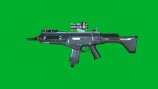 Assault Rifle, Firearm, Automatic Weapon Rotating On Green Background