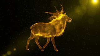 Deer, glowing abstract animal walking through particles, fantasy 3D animation