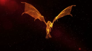 Fire Dragon, mythical creature flying through particles, abstract fantasy 3D animation