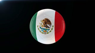 Football with flag of Mexico, soccer ball with Mexican flag, sports equipment rotating on black background, 3D animation