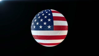 Football with flag of the United States of America, soccer ball with American flag, sports equipment rotating on black background, 3D animation