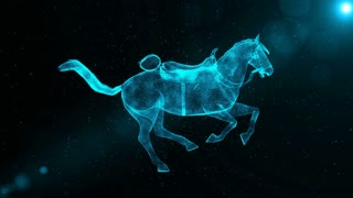 Galloping Horse with Saddle, glowing abstract animal running through particles, 3D animation