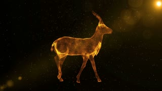 Gazelle, glowing abstract animal walking through particles, animated antelope