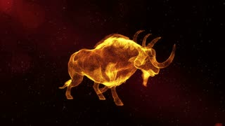 Glowing Buffalo, abstract animal with horns walking through particles, fantasy 3D animation