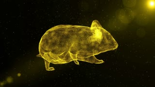 Glowing Hamster, abstract rodent walking through particles, fantasy 3D animation