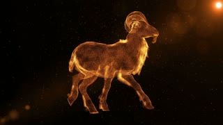 Goat, abstract animal with horns walking through particles, fantasy 3D animation