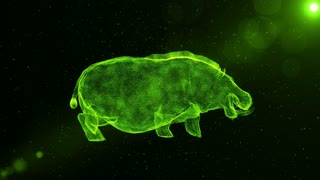 Green Hippopotamus, large abstract animal walking through particles, fantasy 3D animation