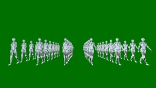Humanoid robots marching, army of android clones isolated on green background, 3D animation