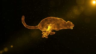 Jaguar, abstract wild animal running through particles, 3D animation