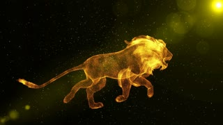 Lion, abstract wild animal running through particles, fantasy 3D animation