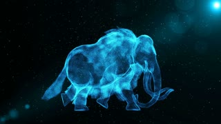 Mammoth, large prehistoric extinct animal walking through particles, fantasy 3D animation