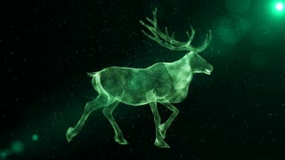 Reindeer, abstract animal with antlers walking through particles, fantasy 3D animation