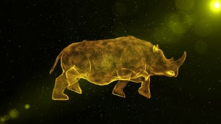 Rhinoceros, Rhino, large abstract animal walking through particles, fantasy 3D animation