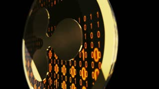 Ripple symbol, close up view of gold cryptocurrency coin with binary code on black background, 3D animation