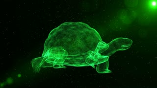Turtle, abstract shelled animal walking through particles, fantasy 3D animation
