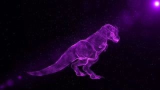 Tyrannosaurus Rex, prehistoric extinct dinosaur roaring, abstract 3D animation