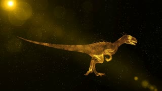 Velociraptor, prehistoric extinct dinosaur running through particles, fantasy 3D animation