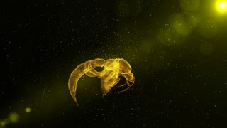 Wasp, glowing abstract insect flying through particles, fantasy 3D animation