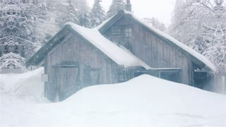 Cabin Isolated in Heavy Snow.
