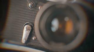 Closeup of old retro film camera.