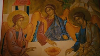 Holy Trinity a copy of Trinity icon by Andrei Rublev, Russia 1564. Cultural Heritage.