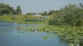 Landscape with waterline in the Danube Delta area, Romania. Danube delta is the second largest river delta in Europe.
