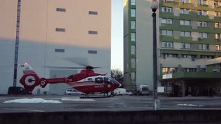 Medical emergency helicopter unit. Take off.