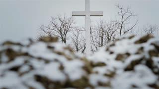 Memorial Day. Cross in military war cemetery.