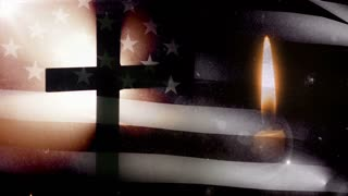 Memorial Day. Cross with US flag and one candle.