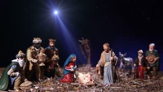 Nativity scene with the star