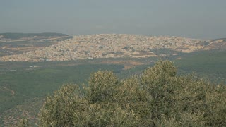 Palestinian city near Nazareth. View from Mount Hermon.