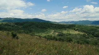 Pastures, hills and valleys. Carpathian Mountains in the distance.